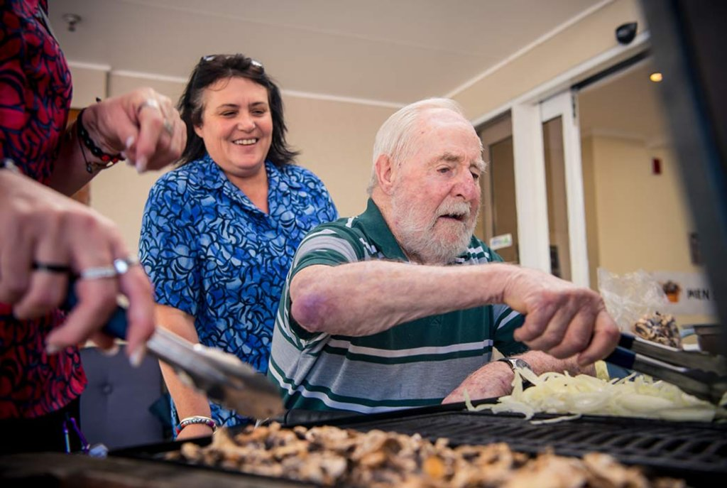 Residents enjoy helping with Brightwater Home BBQ's
