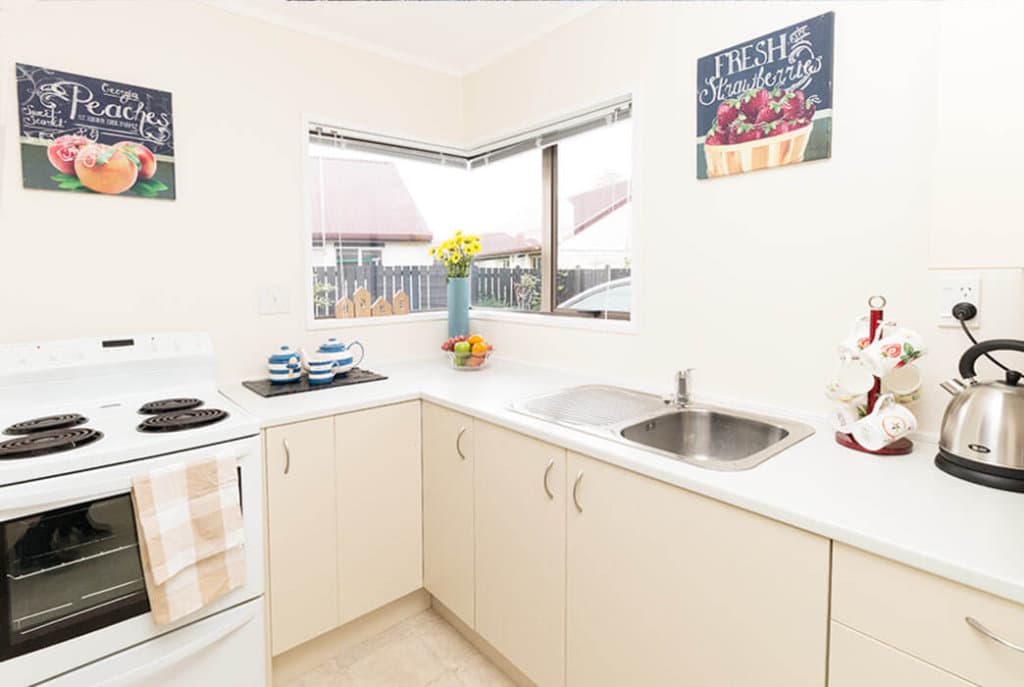 Well-appointed kitchens in the villas at Brightwater Village.