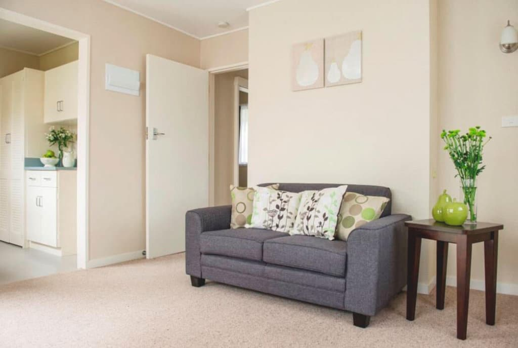 Lounge and kitchen in the one bedroom villas at Coombrae Village.