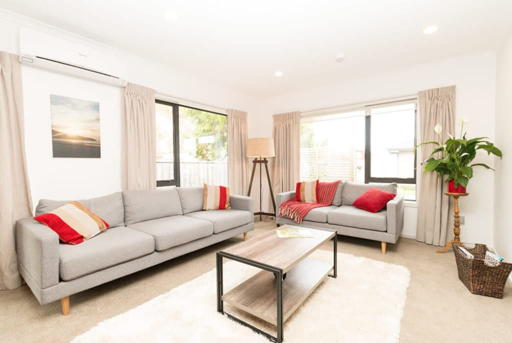 Spacious lounge in two bedroom villas on Edith Collier Drive.