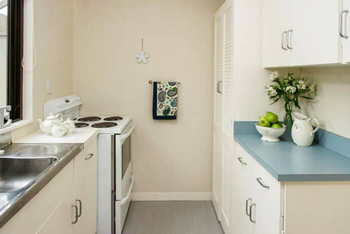 Large gallery style kitchen in the one bedroom villas at Coombrae Village.