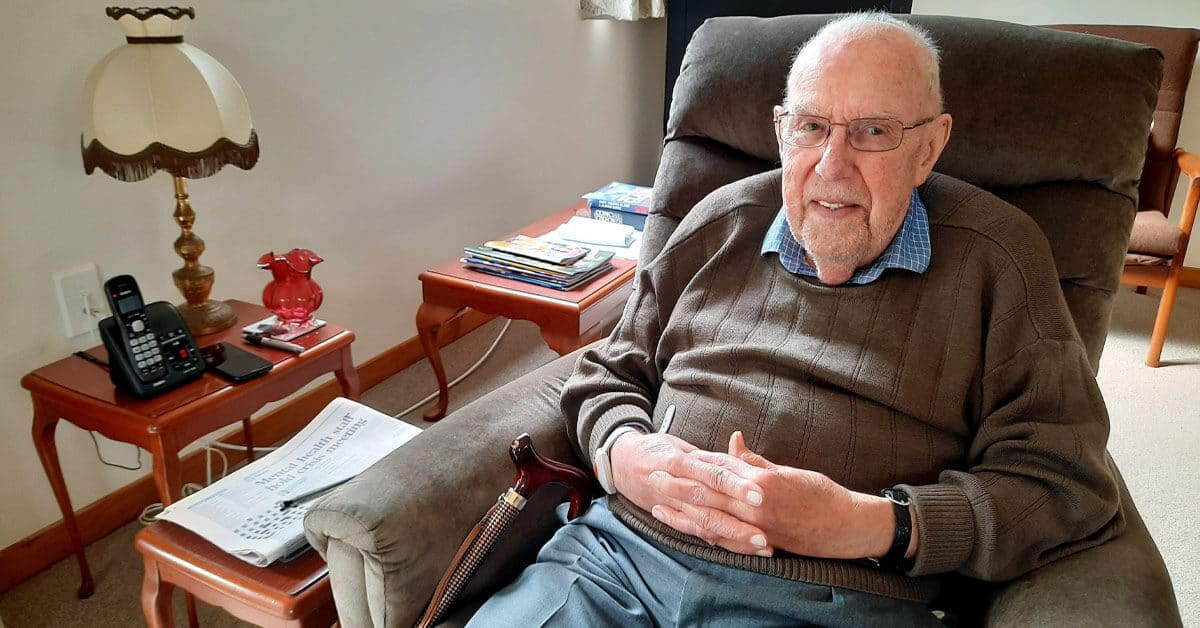 Peter enjoys comfortable living at Huntleigh Retirement Apartments